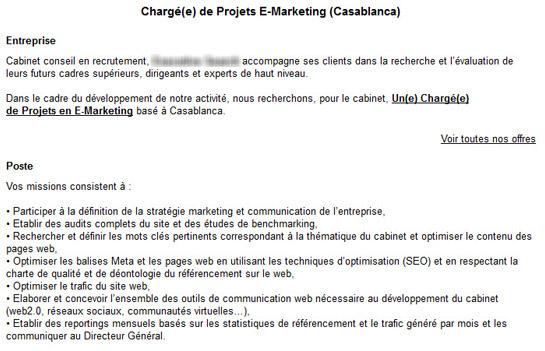 Coup de gueule les offres d emploi dans le e marketing - Cabinet de recrutement au maroc ...